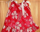 SAMPLE SALE Ruffled Pillowcase Dress Red and White Floral Batik Print Size 2T - Ready To Ship