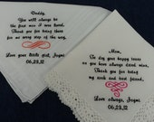 Mans and Ladies Personalized Embroidered White Wedding Bridal Handkerchief from the Bride to her Parents Free Gift Boxes.