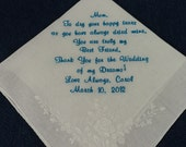Beautifully Embroidered Wedding Handkerchief Preembroidered for the Bride to give her mother on her wedding day