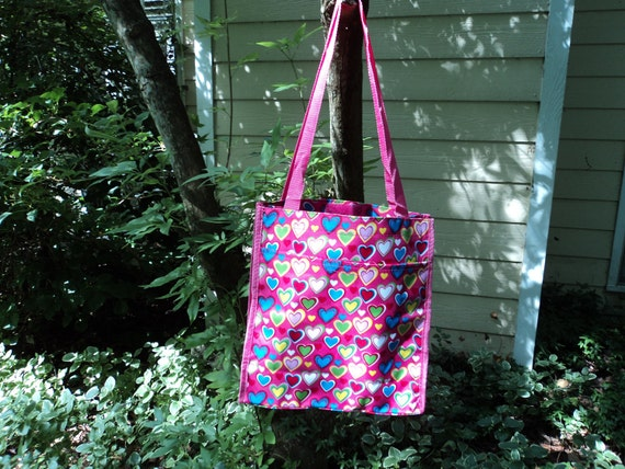 Personalized Tote Purse - Pink with Hearts
