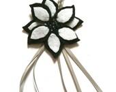 Black and white felt keyring with beading embellishment