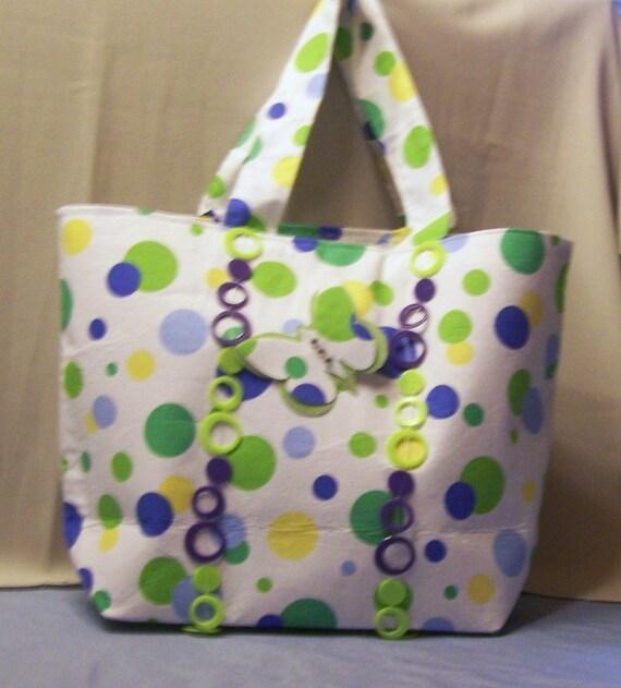 Large green/yellow/purple butterfly polk-a-dot handbag - on SALE