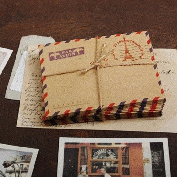 Brown KRAFT Paper Mini AIRMAIL Envelopes x 10 : PARIS Par Avion
