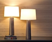 Tapered Silver-Gray Wood Lamp