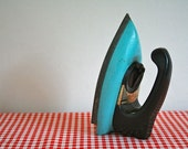 vintage 50s TOY IRON - retro robin's egg blue