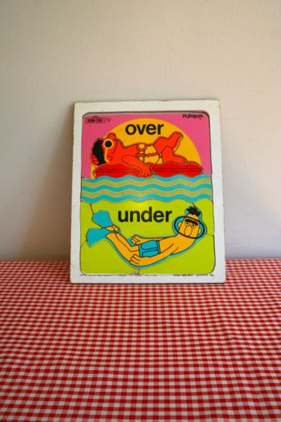 vintage 1970s UNDER and OVER wooden puzzle board