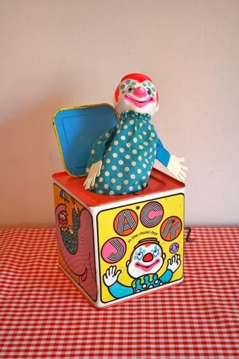 Vintage Jack In The Music Box Mattel 1968 Metal