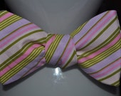 SALE -Men's Bow Tie - Pink Stripe