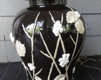 Ginger Jar Lamp Brown/White with Raised Berry/Branch/Leaf Design