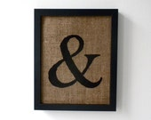 SALE. Ampersand - burlap wall decor, alphabet art, monogram