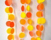 Felt circles party garland in orange and yellow 6ft. long