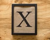 SALE. Letter X - burlap wall decor, alphabet art, monogram