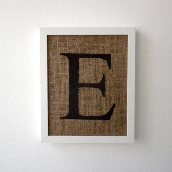 Letter E - burlap wall decor, alphabet art, monogram