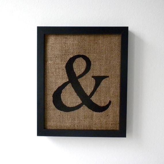 Ampersand - burlap wall decor, alphabet art, monogram