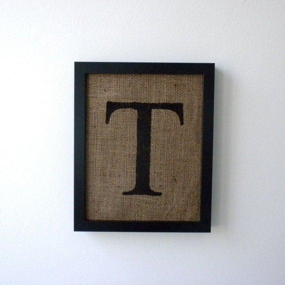 Letter t burlap wall decor alphabet art monogram by laxtoyvr for Letter t decoration