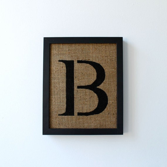 Wall Decor Letter B : Letter b alphabet wall decor on burlap stencil style by