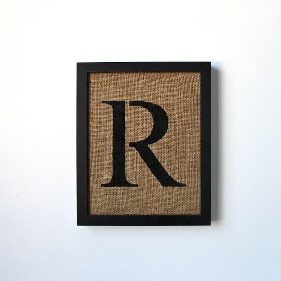 Letter R - burlap wall decor, alphabet art, stencil style font