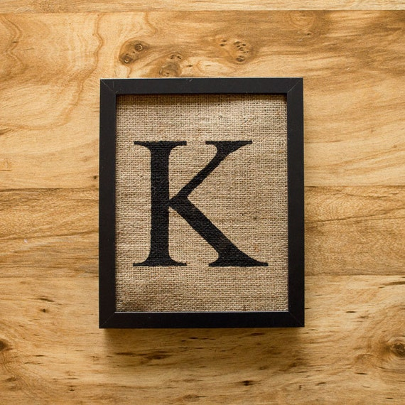 Wall Decor Letter K : Letter k monogram burlap wall decor alphabet art