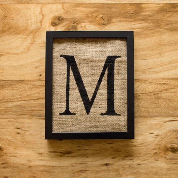 Letter M Burlap Wall Decor Alphabet Art Monogram