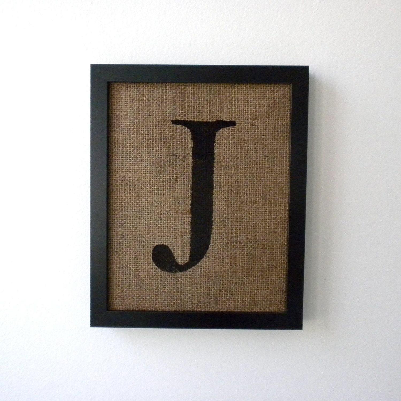 letter j burlap wall decor alphabet art monogram With letter j wall art