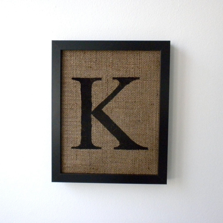 Letter k burlap wall decor alphabet art monogram by laxtoyvr for Letter k decoration