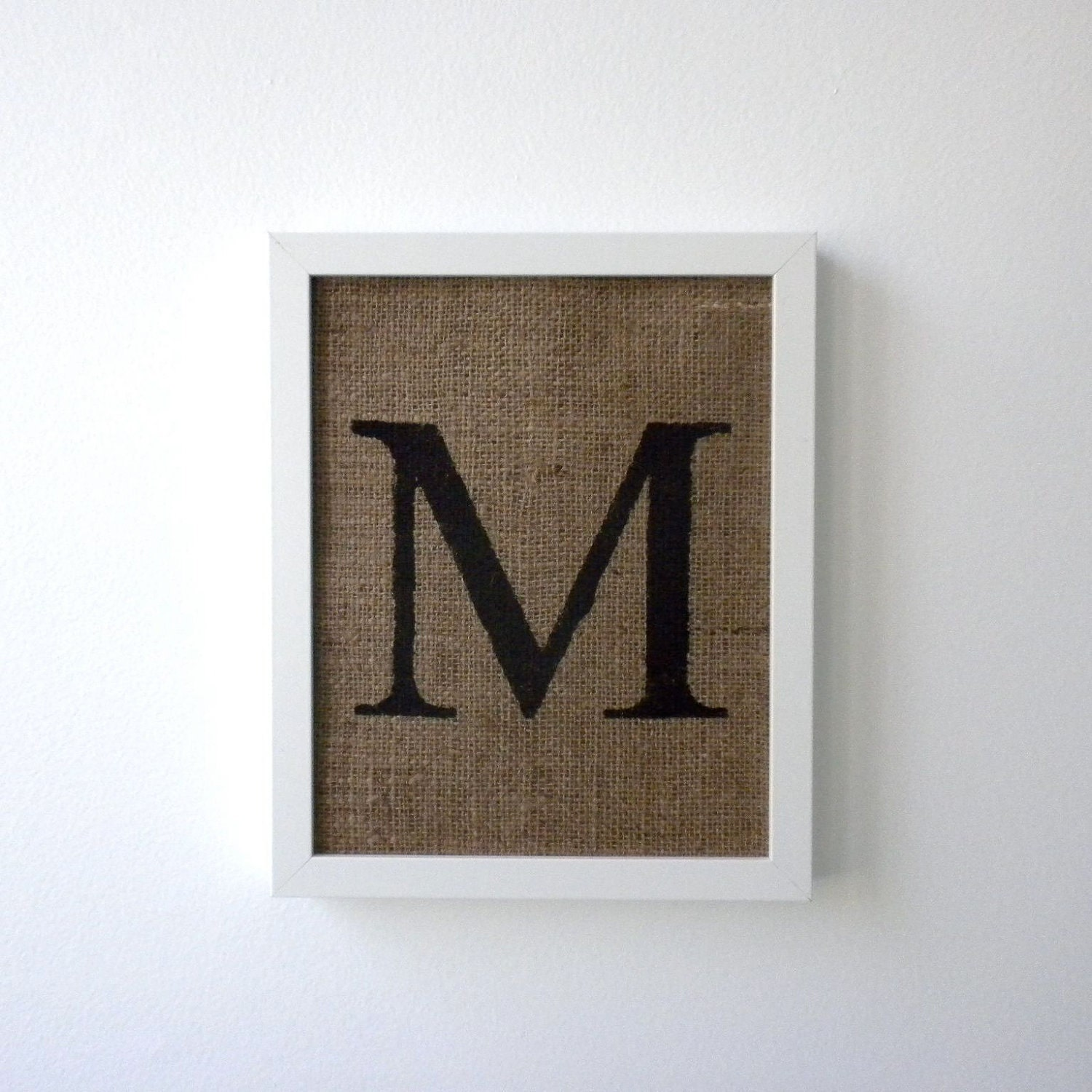 Letter M Burlap Wall Decor Alphabet Art Monogram