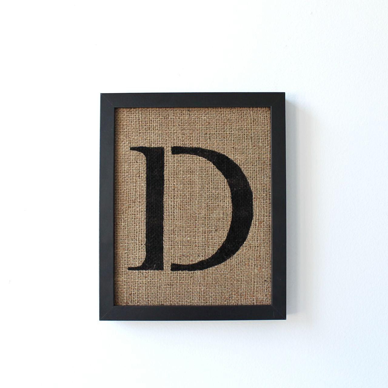 Sale Letter D Burlap Wall Decor Alphabet Art Stencil