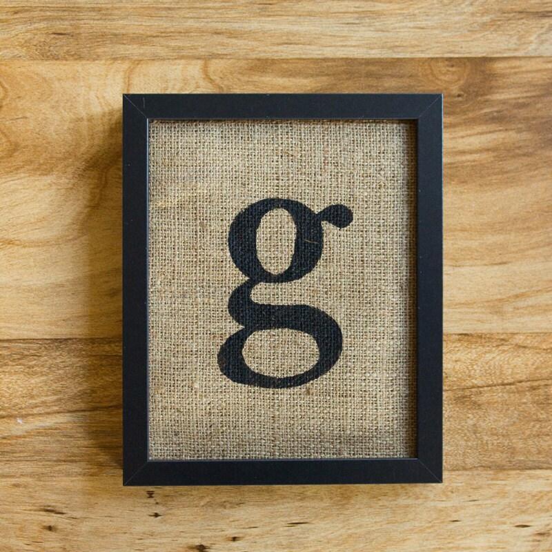 Letter g burlap wall decor alphabet art monogram for Letter g wall decor