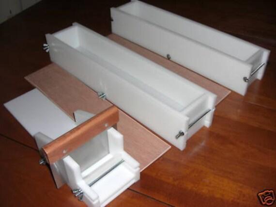 2 hdpe 5 LB Soap Molds,1 Cutter,1 Cutter Blade, 2 Wooden Lids makes 36 Bars E.