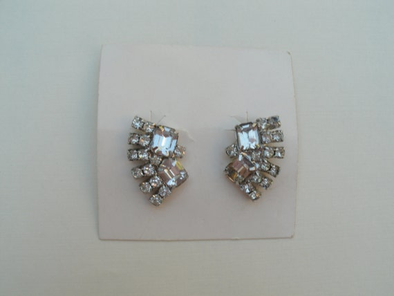 Vintage 1950s Rhinestone Clip Earrings