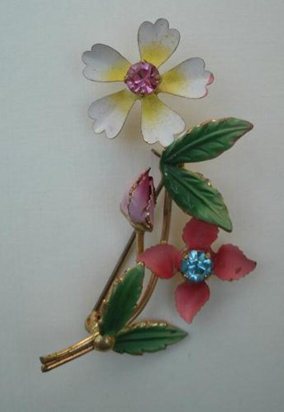 Vintage Enamel Flower Brooch -  Pin Made in Austria