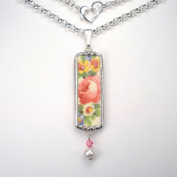 Broken China Jewelry-  Floral Rose Chintz Pendant Necklace by Charmedware