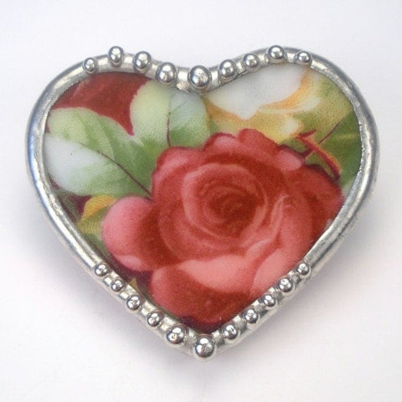 Broken China Jewelry Beautiful Wine Red Rose Heart Pin Brooch By Charmedware