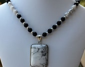White Buffalo Stone Pendant with Black Onyx & White Buffalo Stone Handmade Necklace