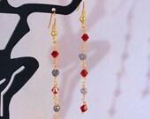 Labradorite & Swarovski Crystal Drop Earrings - Dangle Earrings