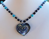 Turquoise and Dumortierite Handmade Necklace with Cobalt and Silver Glass Heart