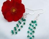 Emerald & Sterling Silver Chandelier Earrings,Drop Earrings, Dangle Earrings, Gemstone Earrings, May Birthstone