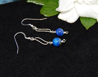 Lapis Lazuli & Sterling Silver Dangle Earrings