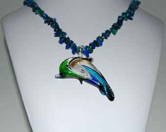 Dolphin, Lapis Lazuli & Malachite Handmade Necklace