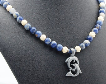 Dolphin & Sodalite Statement Necklace - Pendant Necklace - Surfer - Skate Boarder - Ocean