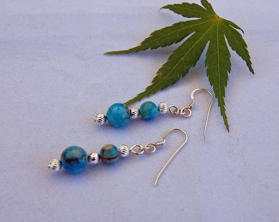 Sky Blue Crazy Lace Dangle Handmade Earrings   - Free Gift Wrap