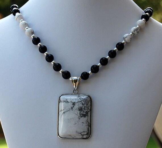 White Buffalo Stone Pendant with Black Onyx & White Buffalo Stone Handmade Necklace
