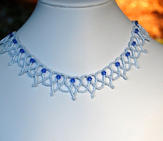 Cobalt Blue Swarovski and Light Blue Hearts Bead Lace Choker, Statement Beadwork Necklace, Seed Bead Lace Choker