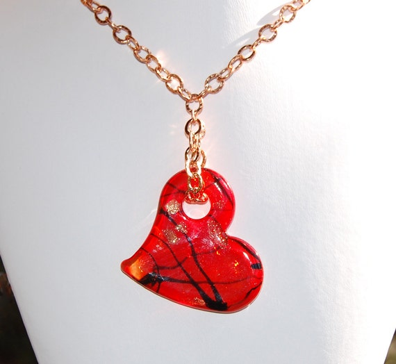 Red Venetian Glass Heart Pendant with Copper Necklace