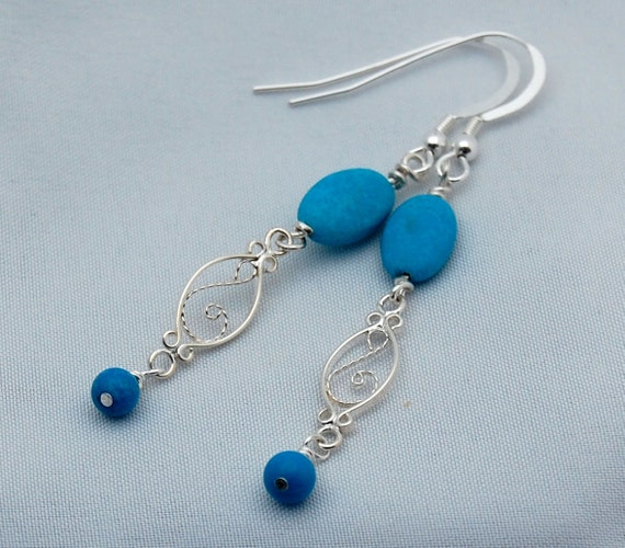 Turquoise and Sterling Silver Dangle Earrings - Gemstone Earrings - Stone Earrings