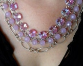Lavender and Silver Multi-Strand Necklace
