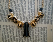 Art Deco Vintage Assemblage Necklace with Vintage Brass, Gold, Black and Vintage Pearls