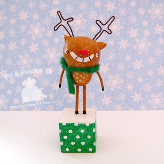 Tabletop Sculpture - Randy Reindeer - Original Christmas Paperclay Art