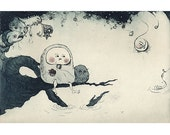 Child, Owl, and Friends (dinosaur, moon, sun, stars, wolf, fish etc..) Etching Print Limited Edition Signed Art Print