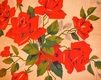 Vintage Wilendure Kitchen Towel with Printed Roses - Never Used